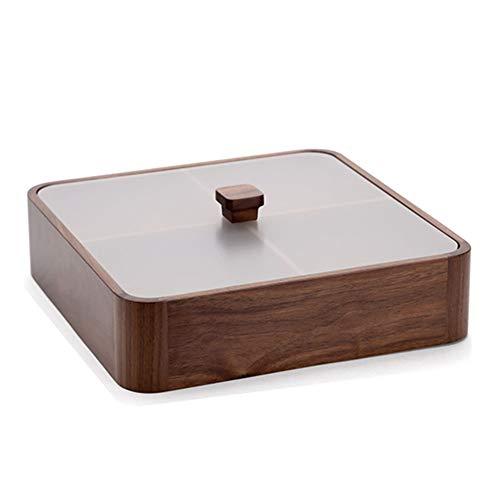 Verfijnde sectionele dienblad, 4 Grid Candy Box hout met deksel, stevig en duurzaam, multipurpose geschikt voor woonkamer, samen komen, restaurant