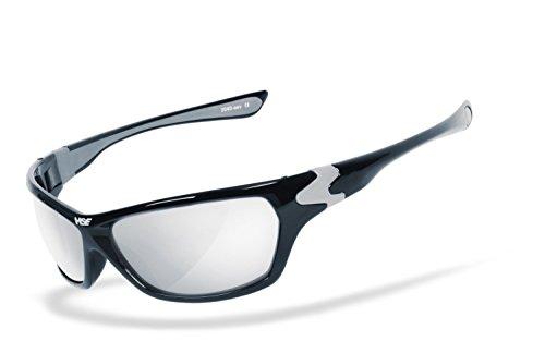 HSE SportEyes® | UV400 Schutzfilter, HLT® Kunststoff-Sicherheitsglas nach DIN EN 166 | Sportbrille, Radbrille, Sonnenbrille| Brillengestell: schwarz, Brille: HIGHSIDER