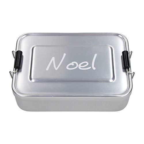 elasto Personalisierte Vesperbox mit Gravur BPA-Freie Brotdose mit Namen 17 x 12 x 5 cm Brotzeitbox Metall für Kinder und Erwachsene Tolles Geschenk für Schule Kindergarten Arbeit (Silber)