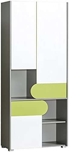 Kleiderschrank Futuro mit 3 Türen Farauswahl Grün  BrillantWeiß  Anthrazit