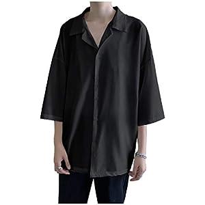 [フローライズ] オープン カラー 開襟 シャツ メンズ 五分袖 ビッグ シルエット 大きい サイズ サテン風 ドロップ ショルダー 無地 FL148 ブラック XL