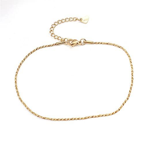 Tobillera de acero inoxidable de moda Pulseras de tobillo de oro simple en el pie para mujeres Hombres Cadena de pierna Regalo de joyería 23.5cm - 22cm de largo 1 PC, 4