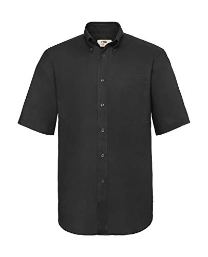 Fruit of the Loom Kurzärmeliges Oxford-Hemd für Herren XXXL schwarz/schwarz