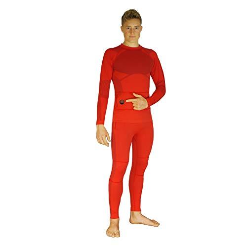 Glovii Zestaw podgrzewanej bielizny, termoaktywnej bielizny, koszulka z długim rękawem i spodnie (pomarańczowe, M)