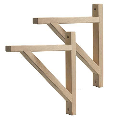 Brackets 2pcs Regalhalterung Holz 180mm Regalkonsole Vintage Regal Unterstützung Wandregal Winkel Regalträger Log Schwerlastwinkel Mit Schrauben (unbemalt)