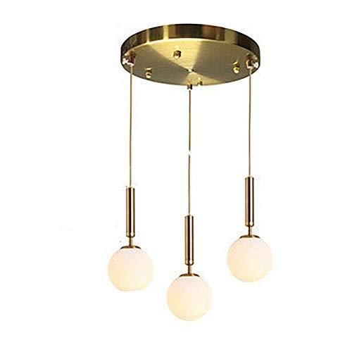WEM Bola de cristal Lámpara colgante vintage Acabado en bronce, E26 Disco de accesorio de luces colgantes antiguas rústicas, Montaje empotrado Lámpara de techo de globo de 3 luces, Araña retro de 3 l