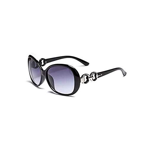 Gafas de sol de estilo vintage para mujer, color negro, marco redondo, diseño retro