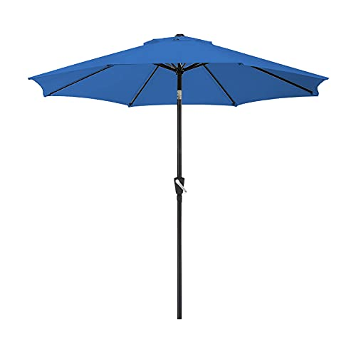 POVISON 9ft Patio Umbrella with 8 Sturdy Ribs, Outdoor Table Umbrella with Crank and Adjustable Push Button Tilt for Backyard, Beach