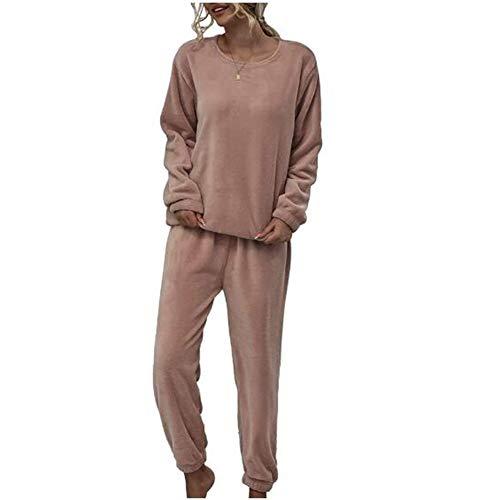 Yiyu Damen 2-teiliges Pyjama-Set Aus Fleece, Nachtwäsche, Plüsch, Warm, Sweatshirt, Kapuze, Langarm, Hose, Unterwäsche, Innen, Weich, Bequem, Herbst Winter x (Color : Pink, Size : L)
