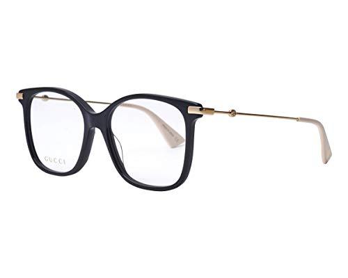 Gucci Unisex – Erwachsene GG0512O-001-52 Brillengestell, Schwarz Glänzend-Gold, 52