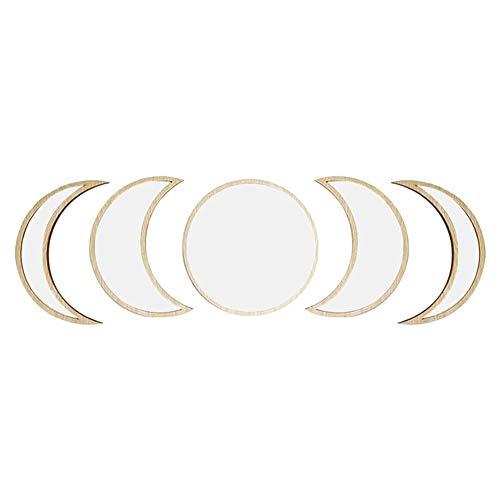 SFeng Espejo de pared para baño, 3/5 piezas estilo nórdico de madera, espejo decorativo de pared acrílico fase lunar para dormitorio, beige, 5 unidades