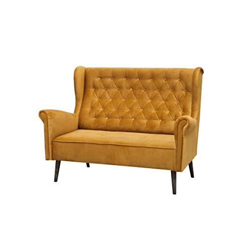 MOEBLO Ohrensofa 2 Sitzer Sofa Couch Garnitur Stoff Samt (Velour) Glamour Wohnlandschaft Chesterfield - Velo (Gold, 2-Sitzer)