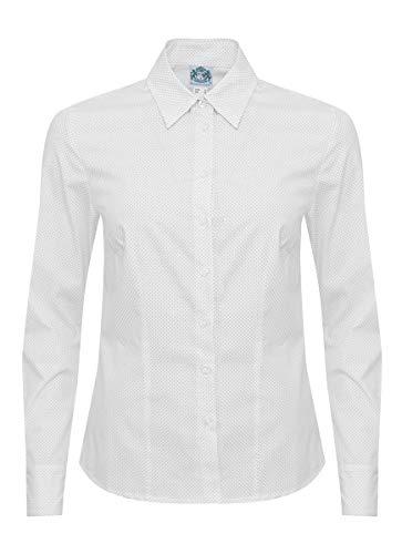 Hammerschmid Damen Trachten-Mode Trachtenbluse Hermine in Weiß traditionell, Größe:42, Farbe:Weiß