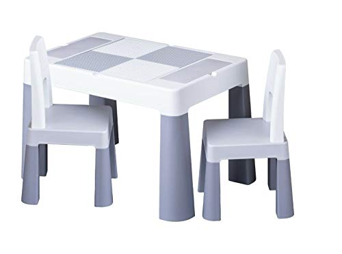 Kindertisch mit 1x | 2X Kinderstuhl Tega® Ablagefach Fläche zum Malen Garten Zuhause (Grau, 2X Kinderstuhl)