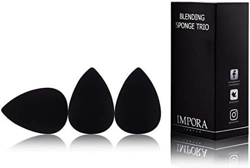 Beauty Makeup Blender/Foundation Sponge Trio Set by Impora London. Original Teardrop/Egg Shape. Vegan, Latex Free. For use with Liquids, Concealer and Cream Make up [3 Sponges Black]