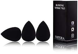 Beauty Makeup Blender / Foundation Sponge Trio Set by Impora London. Original teardrop / egg shape. Vegan, latex free. For use with liquids, concealer and cream make up [3 Sponge Black]
