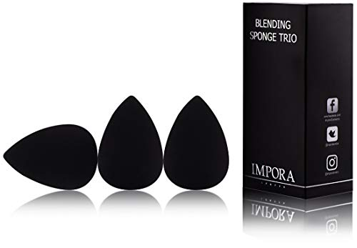 Beauty Makeup Blender/Foundation Sponge Trio Set by Impora London. Original Teardrop/Egg Shape. Vegan, Latex Free. For use with Liquids, Concealer and Cream Make up [3 Sponge Schwarz]
