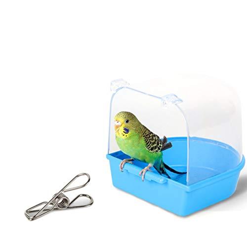 VILLCASE Caja de Baño de Loro Jaula de Pájaros Bañera de Baño para Pájaros Mascotas Periquitos Canarios Loro Loro Colgando Baño Ducha de Pájaros Bañera (Azul Claro)