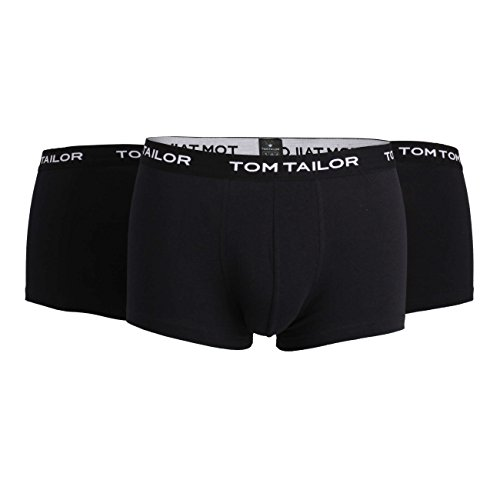 TOM TAILOR Herren Hip Pants, Unterhose, Elastan, Baumwolle, Single Jersey, schwarz, Melange, 3er Pack L