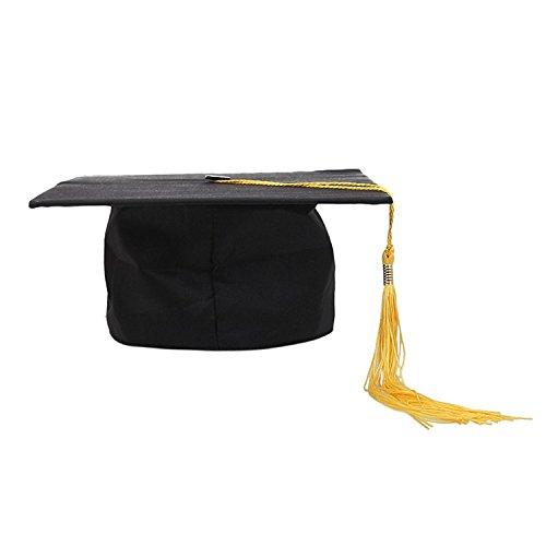Deluxe Bachelor Doktor College Absolventen Hut Doctor Cap Doktorhut Diplomhut Doktorhut Hut Erwachsene Tutor Arzt Guraduation Schwarz Trencher Master + Gelb