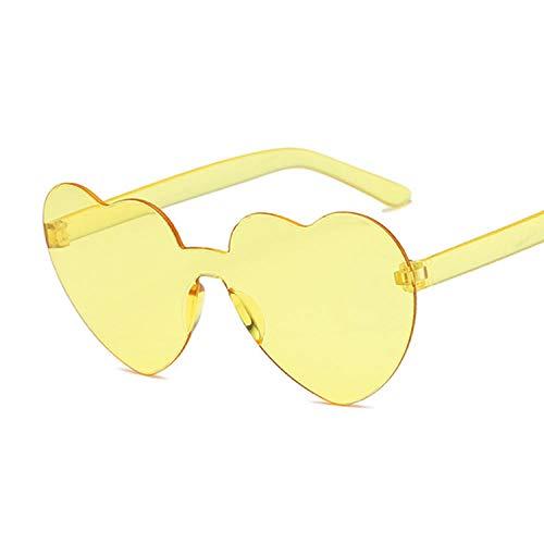 Amor corazón Lente Gafas de Sol Femenino Transparente plástico Gafas Estilo Hembra Gafas de Sol Clara Color Color Dama Adecuado para Deportes al Aire Libre-Amarillo