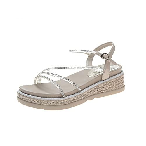 Sandalia plana para mujer, correa ajustable con hebilla de tobillo y diamantes de imitación en zapatos de plataforma al aire libre con estilo, beige, 35.5 EU