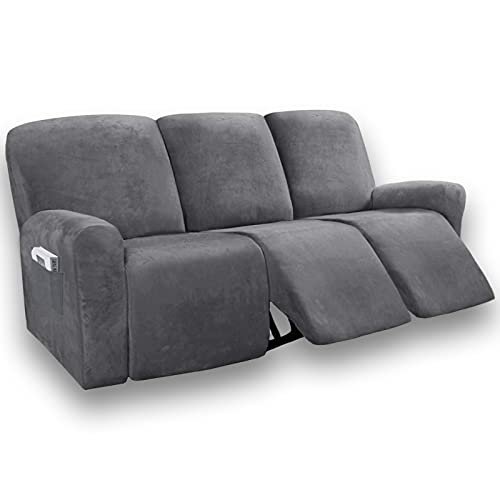Velvet Stretch 8-Pieces Recliner Sofa Covers Home Theater Seating Couch Covers for 3 Sofa Slipcover with Elastic Bottom with Side Pocket, Lazy Boy Sofa Cover (Gray)