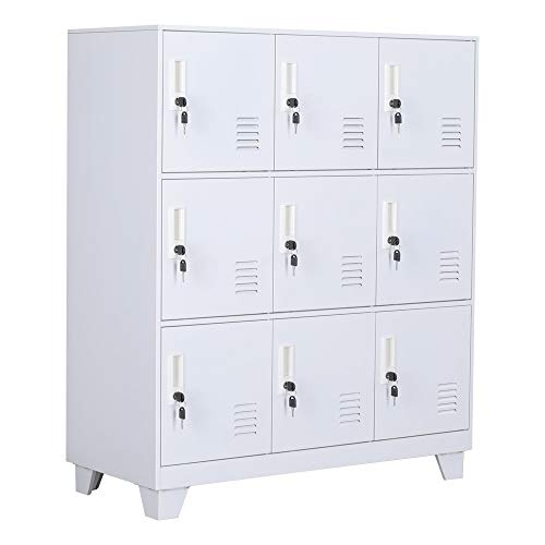 NITETRONIC 9-Door Assembled and Combinable Office Metal File Locker, School Lab Supplies, and Bedroom Organizer, Steel Cabinet to Storage Toys, Tools and Clothes