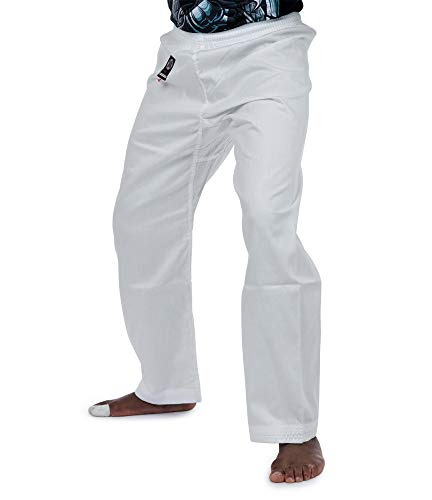 Karate Pants by Ronin – Poly-Cotton Middle Weight Martial Arts Pants with Elastic Waist (White, 5)