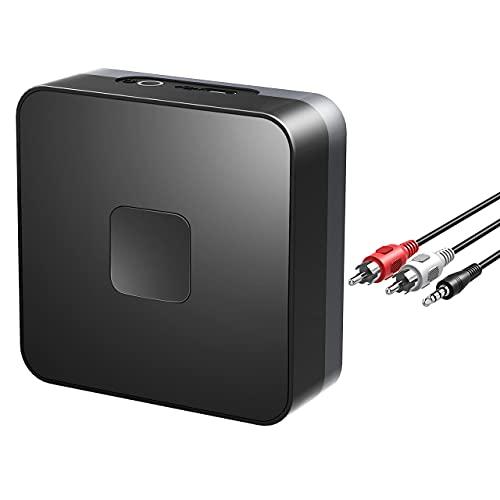 Bluetooth Empfänger, Aux Bluetooth Audio Adapter für Heim Auto Lautsprechersystem, Drahtloser Musikstreaming Soundsystem, Bis zu 15 Stunden, Bluetooth Adapter für Lautsprecher, Kopfhörer