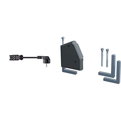 Bachmann 375.003 Gerätezuleitung Schuko GST18, 3 m schwarz & 930.120 Haltewinkel Desk, 930120