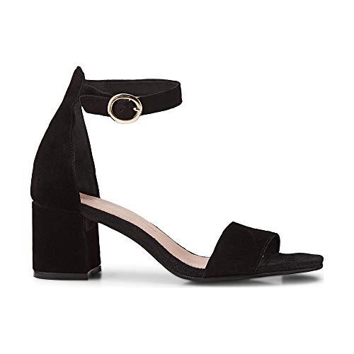Cox Damen Riemchen-Sandalette aus Leder, entzückende Sandale in Schwarz mit Blockabsatz Schwarz Rauleder 39