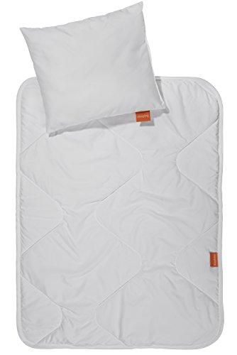 sleepling 190203Basic 1002piezas Set cochecito/Baby carro–Manta y cojín 60x 78cm + 30x 35cm, color blanco