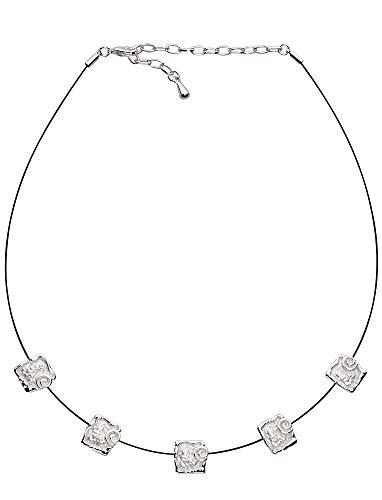 Perlkönig Collier Kette Halskette   Damen Frauen   Silber Farben   5 Quadrate mit Kreisen   Verstellbar   Nickelabgabefrei