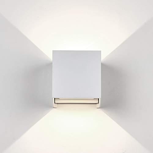 Topmo-plus aussenlampe led wandlampe cube Außen Wandspot 6W OSRAM COB LED Aluminium IP65 Wasserdichte 660LM Quadrat Wandbeleuchtung Up & Down Innen/Außenwandleuchten (weiß/naturweiß)