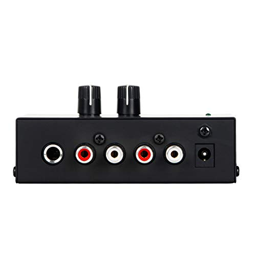 "Depusheng PP500 Ultra-compact Preamplifier Phono Preamp with Level & Volume Controls RCA Input & Output 1/4"" TRS Output Interfaces"