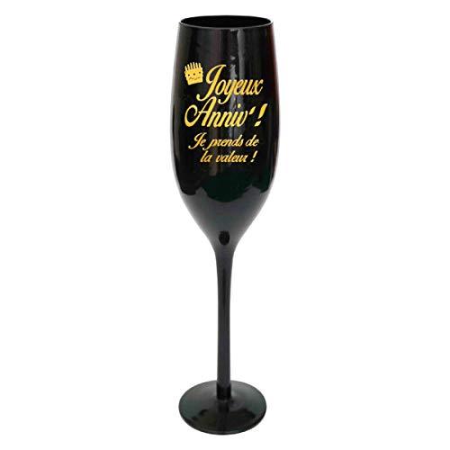 Les Trésors De Lily [N2746 - Coupe Flute à Champagne 'Joyeux Anniv !' Noir doré - 24 cm