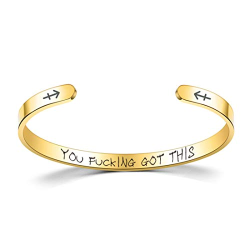 Laramoi Bangle Cuff Bracelets for Women Men Personalized Zodiac Constellation Horoscope Stainless Steel Engraved Come Encouragement Inspirational Gifts for Friends Girls Teens (Gold, Sagittarius)