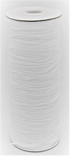 Dr. M's Soft 3mm Elastic Cord Ultra Premium Round White Nylon and Spandex (100 Yards) 300 Feet Skin-Friendly Stretchy Ear Loop Tie for Mask Making String for Homemade Crafting Sewing Beading Projects