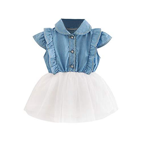 WUSIKY Sommerkleid Kleinkind Baby Mädchen Denim Tutu Tüll Prinzessin Kleider Sommerkleid Outfits Elegante Lässige Mode Tutu Rock Minikleid Party Kleid Kinder Geschenk(6,Weiß)