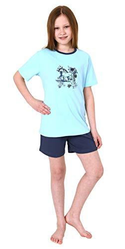 Mädchen Shorty Pyjama Schlafanzug Kurzarm mit Pferd als Motiv - 63956, Farbe:hellblau, Größe:134/140