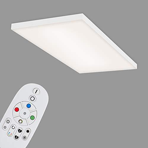 Briloner Leuchten - LED Panel, LED Deckenlampe dimmbar, rahmenlos, Farbtemperatursteuerung, RGB, inkl. Fernbedienung, 22 Watt, 2.800 Lumen, Weiß, 595x295x57mm (LxBxH)