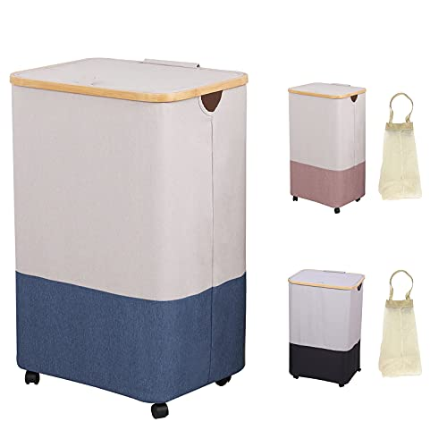 Large Laundry Hamper with Lid - 105L Collapsible Laundry Baskets on Wheels and Removable Laundry Bag, Dirty Clothes Hamper with Handles Portable for Living Room, Bathroom, Toys Storage Baskets