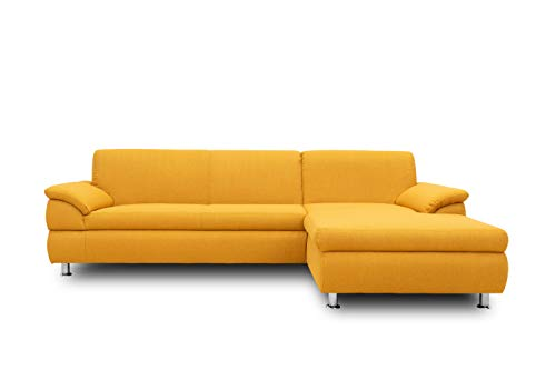 DOMO Collection Ecksofa Bounty | Schlaffunktion L-Form Sofa | 266 x 172 x 82 cm | Eckcouch Schlafsofa mit Bett in gelb
