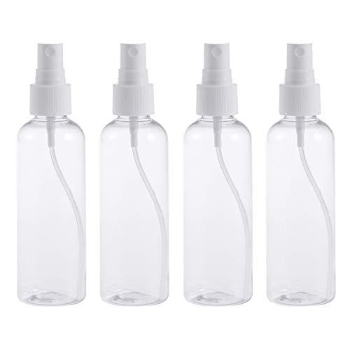 SUPVOX 4pcs 100ML Botella de niebla de botella de spray de plástico vacía para maquillaje Uso de viaje recargable (Botellas transparentes con rociador blanco)