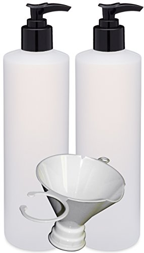 Earth's Essentials Two Pack Of Refillable 16 Oz. HDPE Plastic Pump Bottles With Patented Screw On Funnel-Great For Dispensing Lotions, Shampoos and Massage Oils.