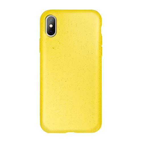 FOREVER Hülle Kompatibel mit iPhone X/XS, Schutzhülle aus Biologisch Abbaubar Materialien, Bio Case Anti-Kratz, Stoßfestes Bumper, Umweltfreundliche Handyhülle, Rückseite Cover (Gelb)