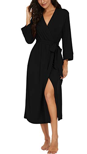 VINTATREWomenKimonoRobesLongKnitBathrobeLightweight SoftKnitSleepwearV-neckCasualLadiesLoungewear Black-Medium