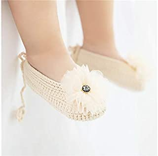Lovely Socks Girls Infant Cotton Sandals Kids Summer Anti-Slip Low-Profile Knitting Flowers Sandals (White) Newborn Sock (Color : Khaki)