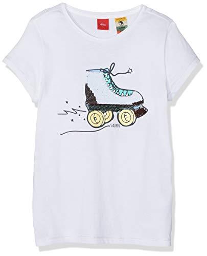 s.Oliver Mädchen 53.903.32.5424 T-Shirt, Weiß (White 0100), 128 (Herstellergröße: 128/134/REG)